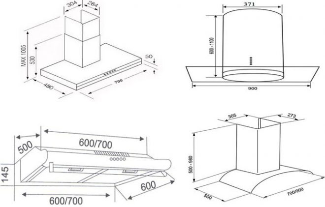 The dimension of the range hood