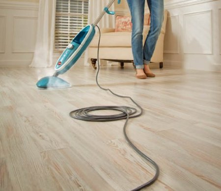 Steam mop on linoleum